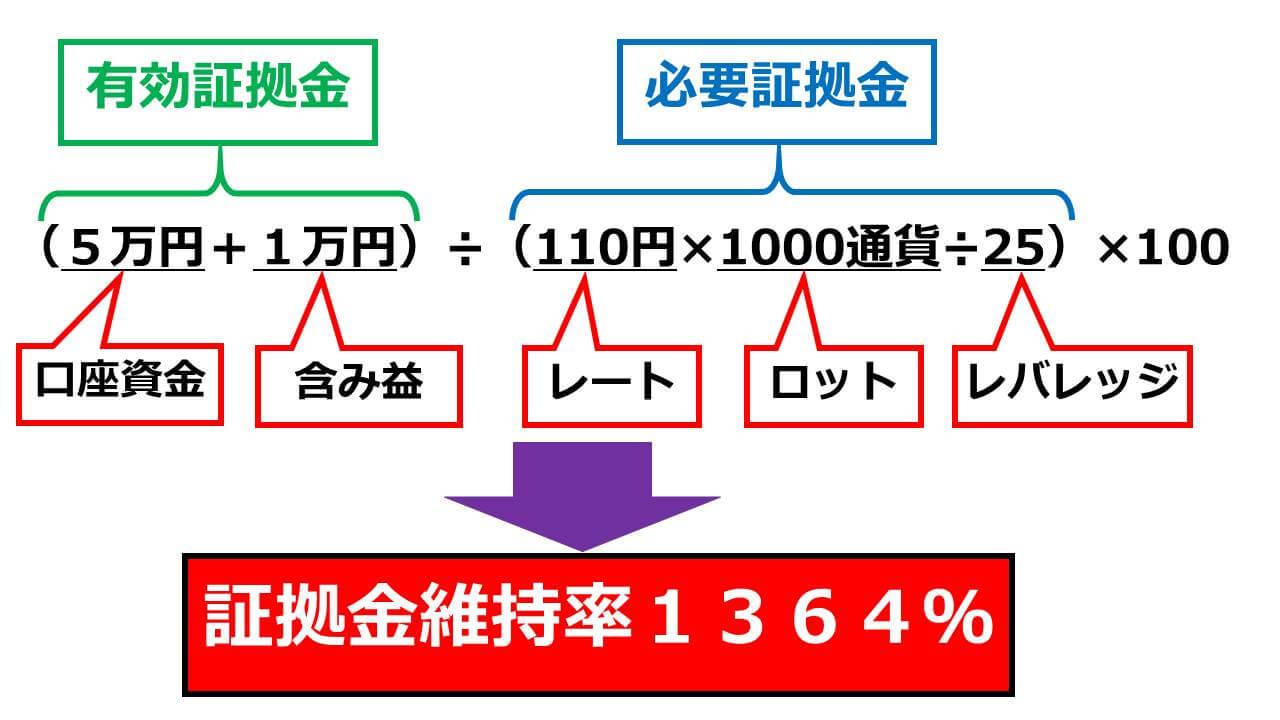 証拠金維持率1364%の計算例